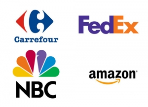 Logo Carrefour, FedEx, NBC, Amazon - ciekawostki